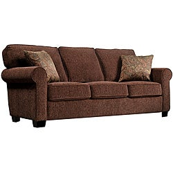 Portfolio Cari Brown Chenille Sofa with Paisley Accent Pillows