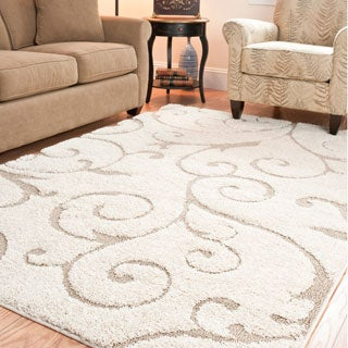 Hand-woven Ultimate Cream/ Beige Shag Rug (4' x 6')