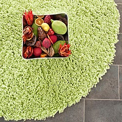 Hand-woven Bliss Lime Green Shag Rug (6' Round)