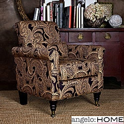 angelo:HOME Harlow Black Paisley Accent Arm Chair