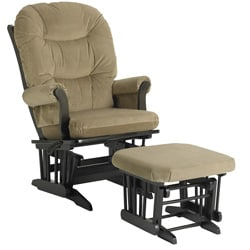 Dutailier Ultramotion Multi-position Light Brown Microfiber Glider Chair/ Ottoman Set