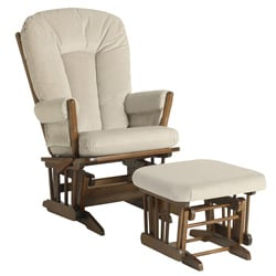 Dutailier Ultramotion Beige Microfiber Glider Chair/ Ottoman Set