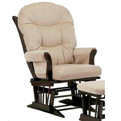 Dutailier Ultramotion Espresso Wood Glider with Beige Upholstery