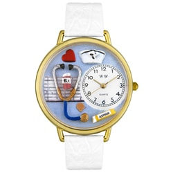 Whimsical Women's Nurse Theme White Leather Watch