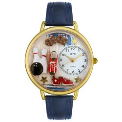 Whimsical Women's Goldtone Bowling-Theme Navy Blue Leather Watch