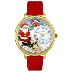 Whimsical Women's Christmas Santa Claus Theme Red Leather Strap Watch