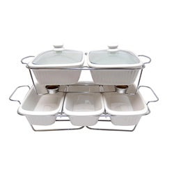 Le Chef White Ceramic Bakeware Set with Serving Trays