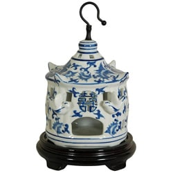 Porcelain 11-inch Blue and White Floral Bird Cage (China)