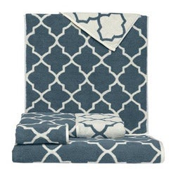 Blue Moroccan Tile Cotton 3-piece Towel Set