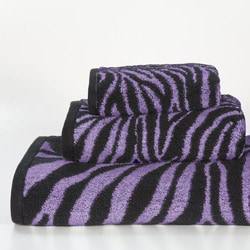 Purple Zebra Cotton 3-piece Towel Set