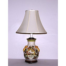 Italian Harvest Off-white Crackle Finish Table Lamp