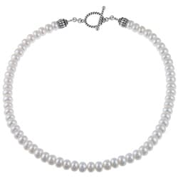 Pearls For You Silver FW Button Pearl 18-inch Necklace (8-8.5 mm)