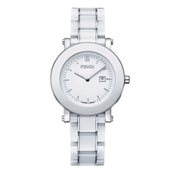 Fendi Women's Round White Dial Ceramic Watch