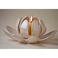 Lotus Flower Pearl Cream Porcelain Candleholder