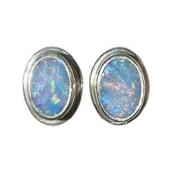 Sterling Silver 'Honesty' Opal Earrings (Indonesia)