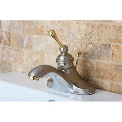Vintage Satin Nickel/ Polished Brass 4-inch Centerset Metal Bathroom Faucet