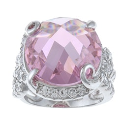 La Preciosa Sterling Silver Large Pink CZ Cocktail Ring