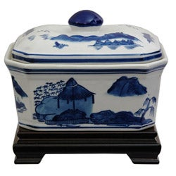 Porcelain 8-inch Blue and White Landscape Covered Jar (China)