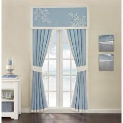 Coastline Blue Cotton 84-inch Curtain Panel Pair