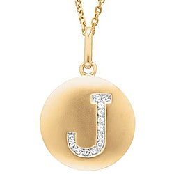 Sterling Silver/ 14k Gold Diamond 'J' Necklace