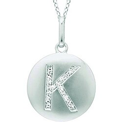 Sterling Silver/ 14k Gold 1/10ct TDW Diamond 'K' Necklace