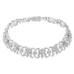 La Preciosa Sterling Silver Cubic Zirconia Link Bracelet