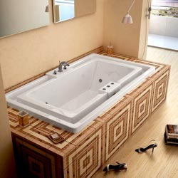 Infinity White Whirlpool Tub with Heater and Chromatherapy