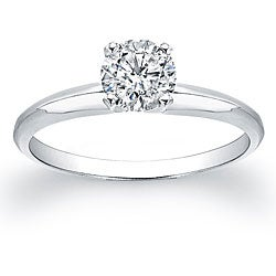 14k White Gold 5/8ct TDW Certified Diamond Solitaire Engagement Ring (H-I, SI2-SI3)