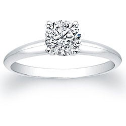 14k White Gold 3/4ct TDW Certified Diamond Solitaire Engagement Ring (H-I, I1-I2)