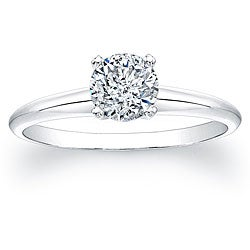 14k White Gold 3/4ct TDW Certified Diamond Solitaire Engagement Ring (H-I, SI2-SI3)