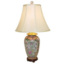 Rose Medallion Round Vase Porcelain Table Lamp