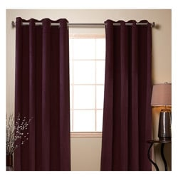 Wine Poly Suede 84-inch Grommet Curtain Panel Pair