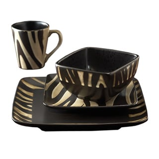 American Atelier Safari Cream Zebra 16-piece Dinnerware Set