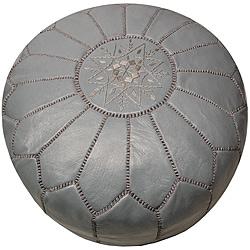 Leather Grey Pouf Ottoman (Morocco)