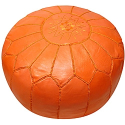 Leather Orange Pouf Ottoman (Morocco)