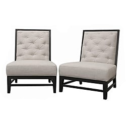Bristol Tufted Grey Linen Modern Lounge Chairs (Set of 2)