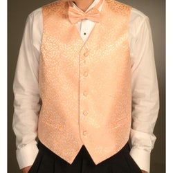 Ferrecci Men's Four-piece Peach Vest Set