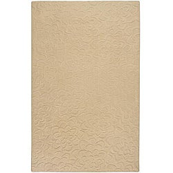 Candice Olson Loomed Beige Floral Plush Wool Rug (9' x 13')