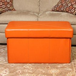 Nottingham Orange Foldable Storage Ottoman