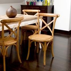 Cross-Back Light Brown Birch Dining Chair