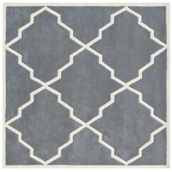 Alliyah Handmade Bluish-Grey New Zealand Blend Wool Rug (6' x 6')