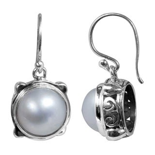 Sterling Silver Mabe Pearl Bali Dangle Earrings (10 mm) (Indonesia)