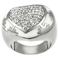 Journee Collection Stainless Steel White Enamel Pave-set CZ Ring