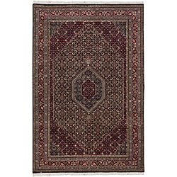 Hand-knotted Mandara Burgundy New Zealand Wool Rug (5'6 x 8'6)