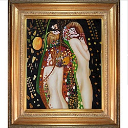 Gustav Klimt 'Water Serpents II' Framed Hand-painted Canvas Art