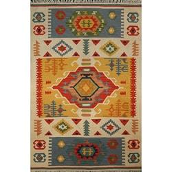 Hand-woven Keisari Kilim Cream wool Area Rug (5' x 8')