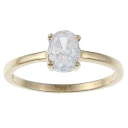 Sterling Essentials 14K Gold over Silver Oval-cut Cubic Zirconia Engagement-style Ring