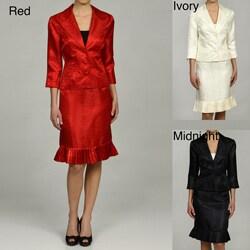 Larry Levine Women's Jacquard Skirt Suit