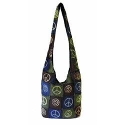 Cotton Spiral Peace Sign Shoulder Bag (Nepal)