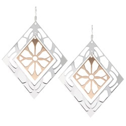 Sterling Essentials Two-tone 14k Rose Gold over Silver Diamond Lace Earrings